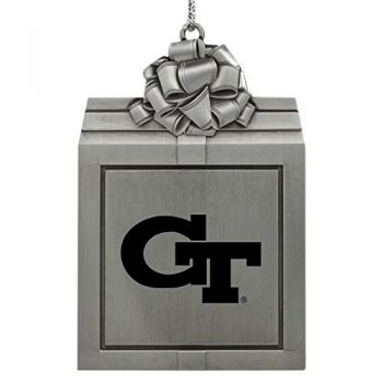 Georgia Institute of Technology -Pewter Christmas Holiday Present Ornament-Silver