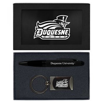 Duquesne University -Executive Twist Action Ballpoint Pen Stylus and Gunmetal Key Tag Gift Set-Black