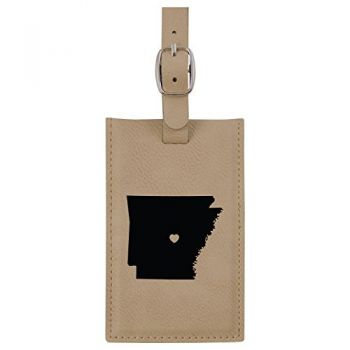 Arkansas-State Outline-Heart-Leatherette Luggage Tag -Tan