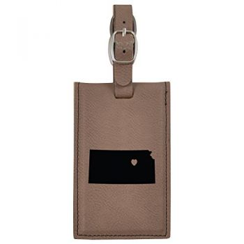 Kansas-State Outline-Heart-Leatherette Luggage Tag -Brown