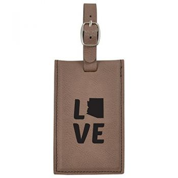 Arizona-State Outline-Love-Leatherette Luggage Tag -Brown