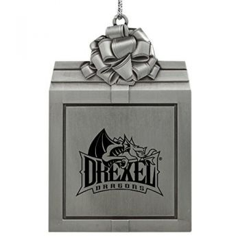 Drexel University -Pewter Christmas Holiday Present Ornament-Silver