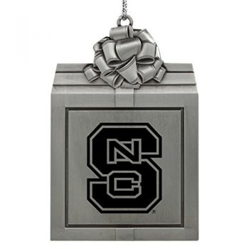 North Carolina State University -Pewter Christmas Holiday Present Ornament-Silver