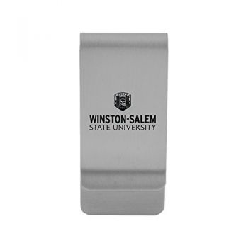 Winston-Salem State University|Money Clip with Contemporary Metals Finish|Solid Brass|High Tension Clip to Securely Hold Cash, Cards and ID's|Gold