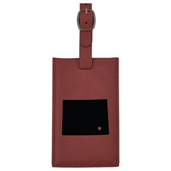 Wyoming-State Outline-Heart-Leatherette Luggage Tag -Burgundy