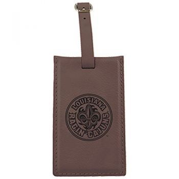 University of Louisiana at Lafayette-Leatherette Luggage Tag-Brown