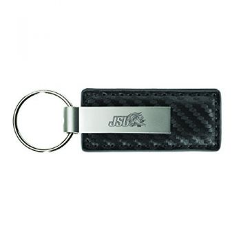Jacksonville State University-Carbon Fiber Leather and Metal Key Tag-Grey