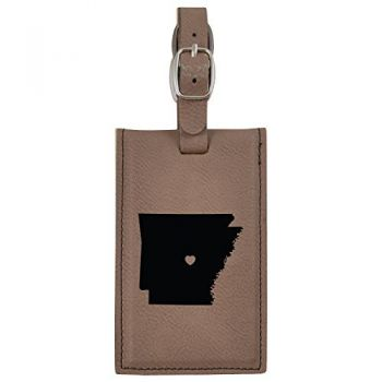 Arkansas-State Outline-Heart-Leatherette Luggage Tag -Brown
