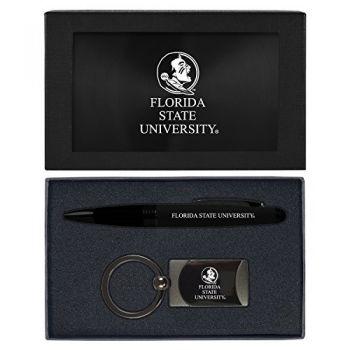 Florida State University -Executive Twist Action Ballpoint Pen Stylus and Gunmetal Key Tag Gift Set-Black