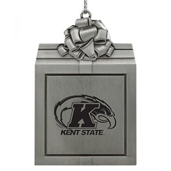 Kent State University-Pewter Christmas Holiday Present Ornament-Silver