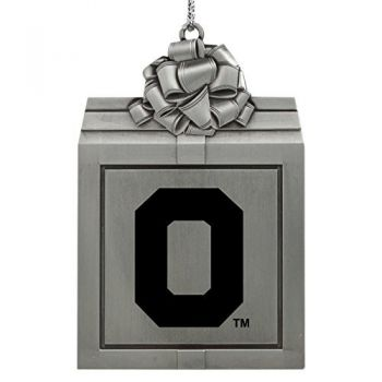 Oregon State University -Pewter Christmas Holiday Present Ornament-Silver