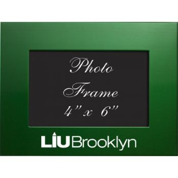 Long Island University??Brooklyn - 4x6 Brushed Metal Picture Frame - Green