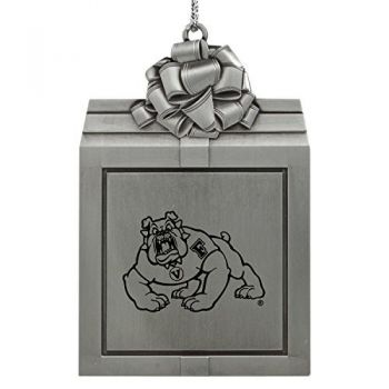 Fresno State -Pewter Christmas Holiday Present Ornament-Silver