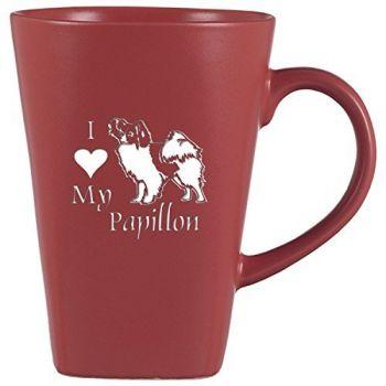 14 oz Square Ceramic Coffee Mug  - I Love My Papillon