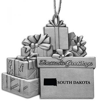 South Dakota-State Outline-Pewter Gift Package Ornament-Silver