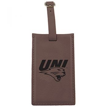 University of Northern Iowa-Leatherette Luggage Tag-Brown