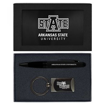Arkansas State University -Executive Twist Action Ballpoint Pen Stylus and Gunmetal Key Tag Gift Set-Black
