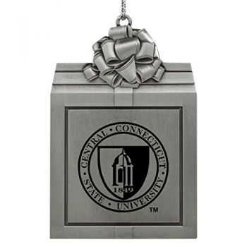Central Connecticut University-Pewter Christmas Holiday Present Ornament-Silver