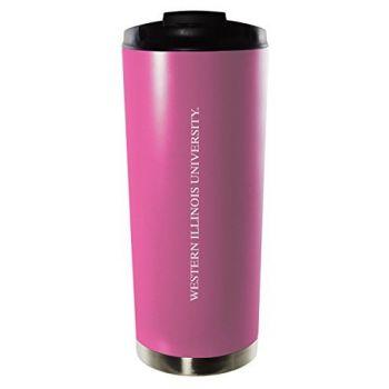 Western Illinois University-16oz. Stainless Steel Vacuum Insulated Travel Mug Tumbler-Pink
