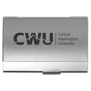 Central Washington University - Two-Tone Business Card Holder - Silver