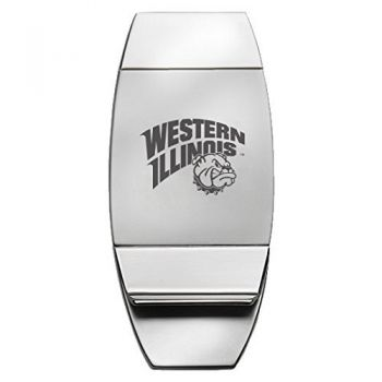 Western Illinois University - Two-Toned Money Clip - Silver