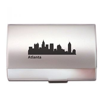 Atlanta, Georgia-Tone Business Card Holder-Silver
