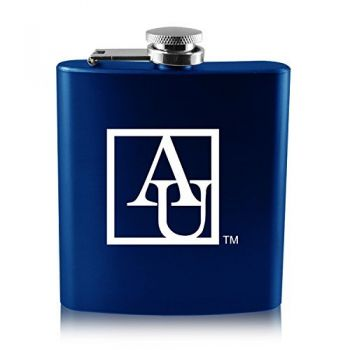 American University -6 oz. Color Stainless Steel Flask-Blue