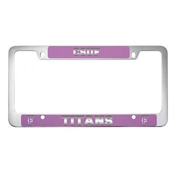 California State University Fullerton -Metal License Plate Frame-Pink