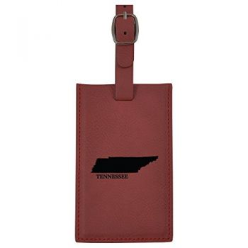 Tennessee-State Outline-Leatherette Luggage Tag -Burgundy