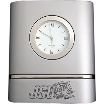Jacksonville State University- Two-Toned Desk Clock -Silver