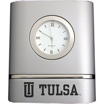 University of Tulsa- Two-Toned Desk Clock -Silver