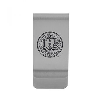 University of California, Santa Barbara|Money Clip with Contemporary Metals Finish|Solid Brass|High Tension Clip to Securely Hold Cash, Cards and ID's|Gold