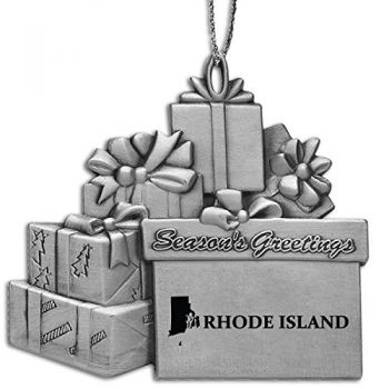 Rhode Island-State Outline-Pewter Gift Package Ornament-Silver