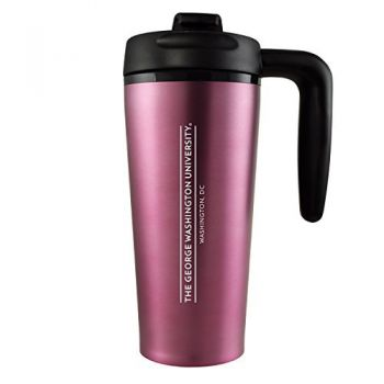 George Washington University -16 oz. Travel Mug Tumbler with Handle-Pink