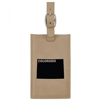 Colorado-State Outline-Leatherette Luggage Tag -Tan