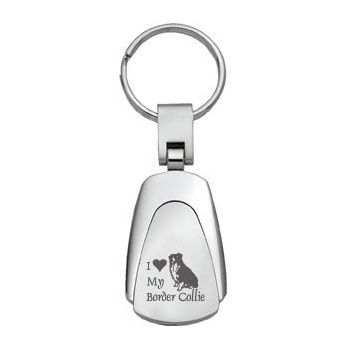 Teardrop Shaped Keychain Fob  - I Love My Border Collie
