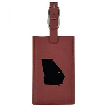 Georgia-State Outline-Heart-Leatherette Luggage Tag -Burgundy