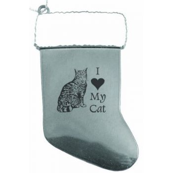 Pewter Stocking Christmas Ornament  - I Love My Cat