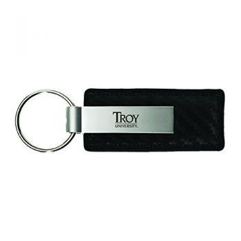 Troy University-Carbon Fiber Leather and Metal Key Tag-Black