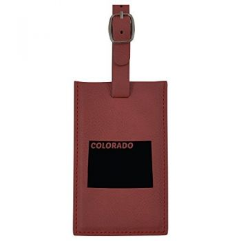 Colorado-State Outline-Leatherette Luggage Tag -Burgundy