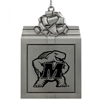University of Maryland-Pewter Christmas Holiday Present Ornament-Silver