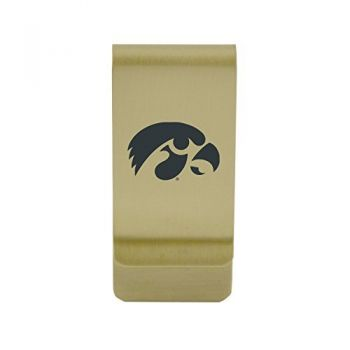 Indiana University|Money Clip with Contemporary Metals Finish|Solid Brass|High Tension Clip to Securely Hold Cash, Cards and ID's|Silver
