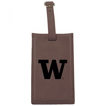 University of Washington-Leatherette Luggage Tag-Brown