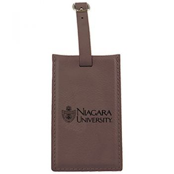 Niagara University -Leatherette Luggage Tag-Brown