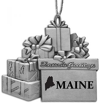 Maine-State Outline-Pewter Gift Package Ornament-Silver
