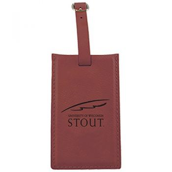 University of Wisconsin-Stout-Leatherette Luggage Tag-Burgundy