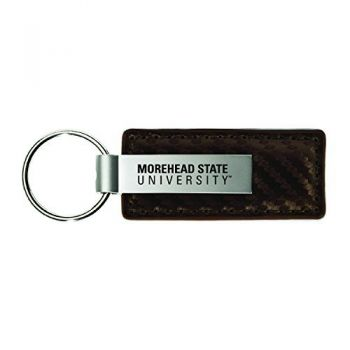 Morehead State University-Carbon Fiber Leather and Metal Key Tag-Taupe