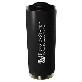 Buffalo State, State University of New York-16oz. Stainless Steel Vacuum Insulated Travel Mug Tumbler-Black