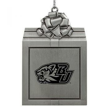 Binghamton University-Pewter Christmas Holiday Present Ornament-Silver