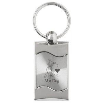 Keychain Fob with Wave Shaped Inlay  - I Love My Dog